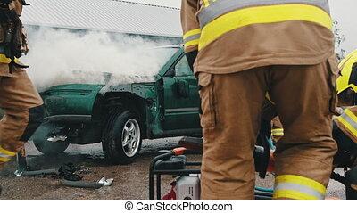 fracas, accident voiture, scène, pompiers