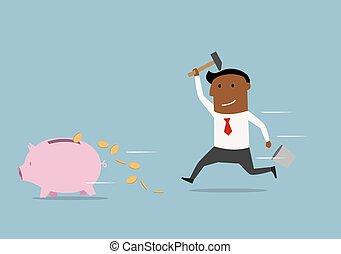 fracas, jeûne, porcin, homme affaires, essayer, banque