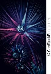 fractal, résumé, fleur