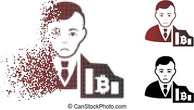 fragmenté, commerçant, bitcoin, malheureux, halftone, pixelated, icône