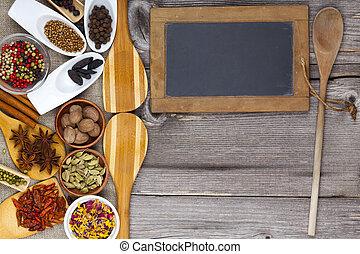 frais, épices, cuisine, parfumé