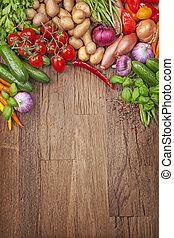 frais, assortiment, légumes