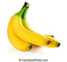 frais, blanc, isolé, banane, fruits