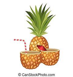 frais, boisson, cocktail, ananas