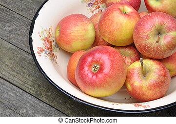 frais, bol, métal, pommes