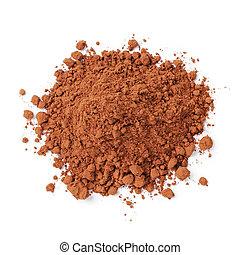 frais, cacao, poudre, tas