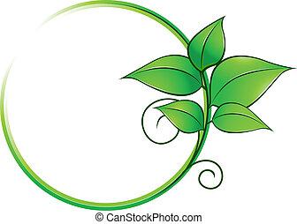 frais, cadre, feuilles vertes