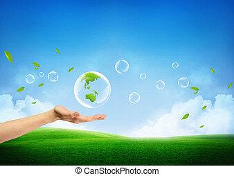 frais, concept, terre verte, nouveau