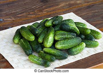 frais, concombre, vert
