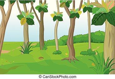 frais, dessin animé, forêt