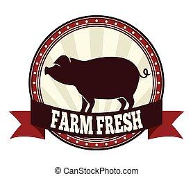 frais, ferme, porc
