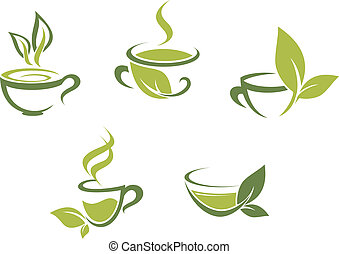 frais, feuilles, thé vert