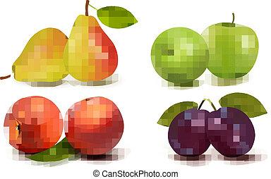 frais, fruit., vecteur, ensemble