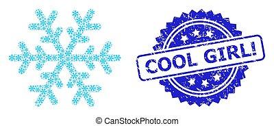 frais, grunge, icône, cachet, girl!, recursion, composition, flocon de neige