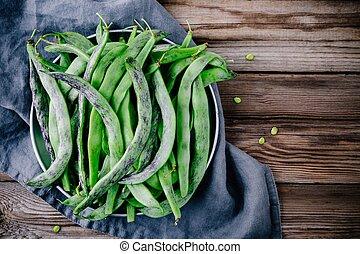 frais, haricots verts, francais, cru