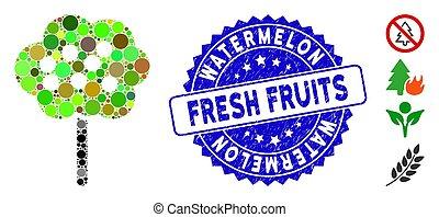 frais, pastèque, fruits, timbre, mosaïque, icône, détresse, arbre