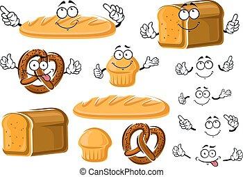 frais, petit gâteau, pain, pain, bretzel, cuit