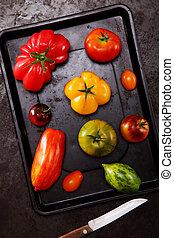 frais, plateau cuisant, tomates, assorti