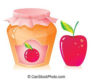 frais, pot embouteillage, pomme