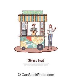 frais, prendre, kiosque, jus, rafraîchissement, heureux, vente, bannière, homme, service, nourriture, rue, loin, jus, client, été, vendeur, stalle