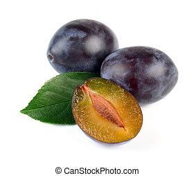frais, prune, vert, fruits, feuille
