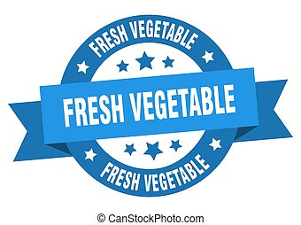 frais, ruban, légume, label., rond, isolé, signe
