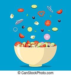 frais, salade, grec