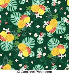 frais, seamless, exotique, papier peint, fruit été, modèle fond
