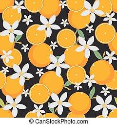 frais, seamless, papier peint, fruit, fond, orange, modèle