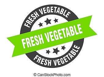 frais, signe., étiquette, ruban, rond, sticker., légume