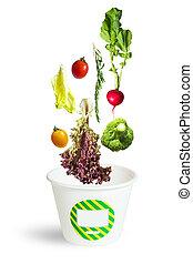 frais, tomber, carton, légumes, assorti