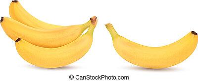 frais, vecteur, bananes, white., isolé