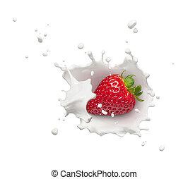 fraise, éclaboussure, lait