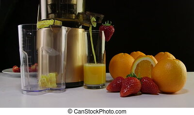 fraise, centrifugeuse, jus, fruit, orange fraîche, utilisation, masticating, confection