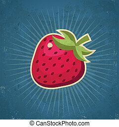 fraise, retro, illustration