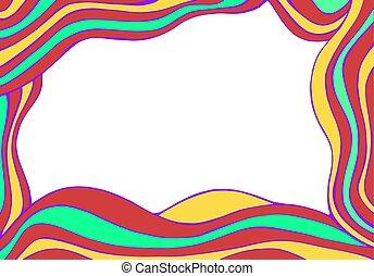 frame., coloré, résumé, fantasme, hand-drawn, vecteur, vagues