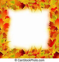 frame., feuilles, eps, multicolore, 8, érable