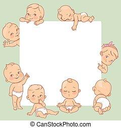 frame., peu, bébés, vide, texte, mignon