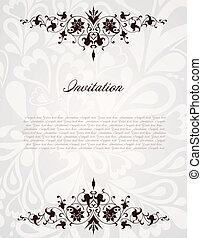 frame., vendange, illustration, vecteur, fond, floral