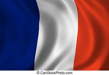 francais, ondulé, drapeau