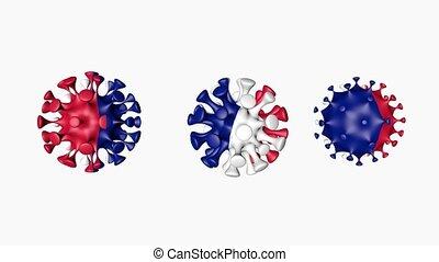 france, balle, coronavirus, 2019-ncov, france., sphères, covid19, drapeau, virus, 3d, blanc, canal alpha, arrière-plan., animation