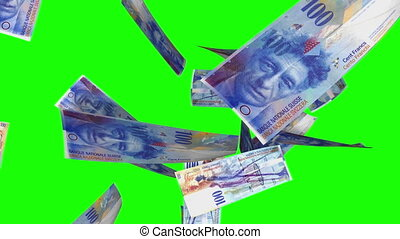 francs suisses, tomber, vert, boucle