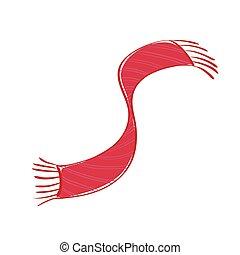 frange, illustration, arrière-plan., vecteur, écharpe, blanc rouge