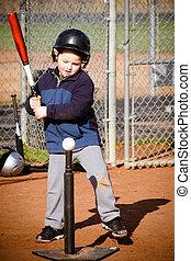 frapper, garçon, base-ball, jeune