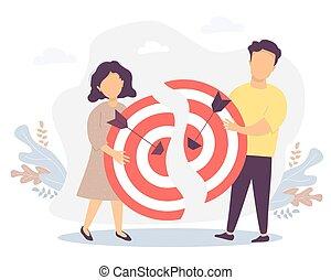 frapper, moitiés, tenue, homme, vecteur, femme, résultat, success., flèches, illustration, connecter, -, collaboration, concept, business, collaboration, but, deux, cible