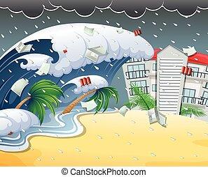 frapper, recours, tsunami, plage