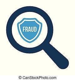 fraude, mot, bouclier, verre, optique, fond, blanc, magnifier, icône