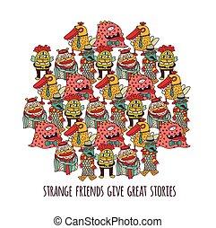 freaks, blanc, isoler, étrange, étrangers, différent, amis