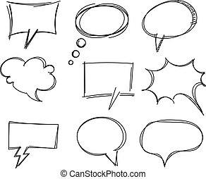freehand, articles, parole, dessin, bulle