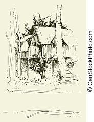 freehand, bungalow, dessins